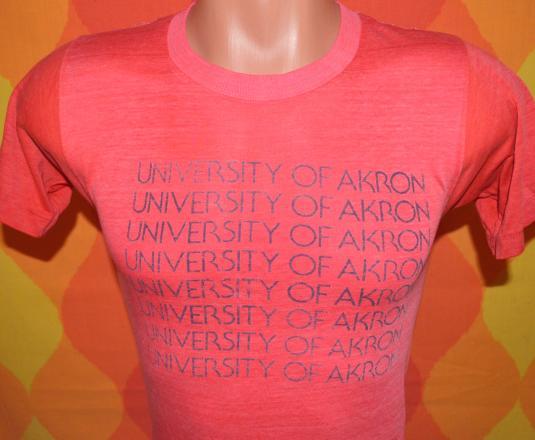 vintage 70s university of AKRON ohio t-shirt soft thin silky