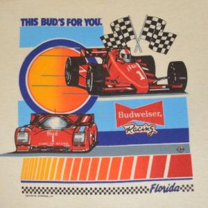 vintage this BUD'S for you budweiser indy car racing t-shirt