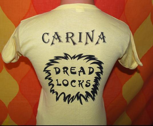 vintage 70s carina DREAD LOCKS black rasta hair t-shirt