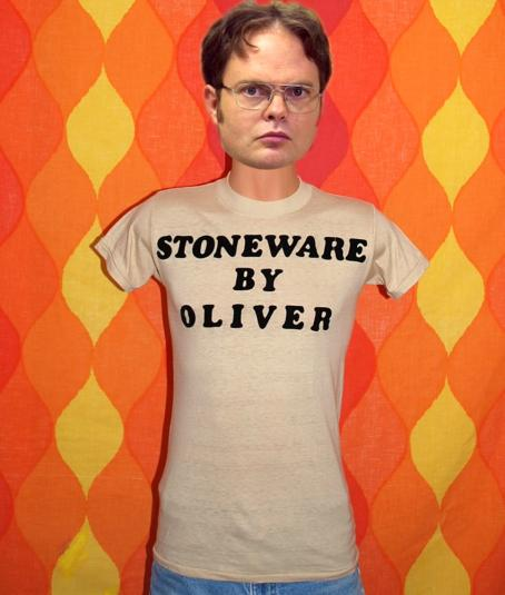 vintage stoneware by OLIVER t-shirt 70s flock funny humor