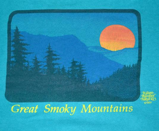 vintage GREAT SMOKY mountains sunset t-shirt teal nature
