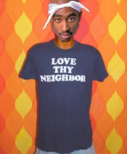 vintage LOVE THY NEIGHBOR funny bible religion t-shirt flock
