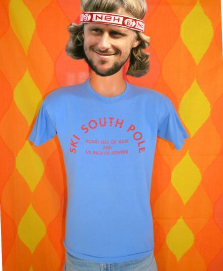 vintage 70s t-shirt SKI SOUTH POLE tourist souvenir funny