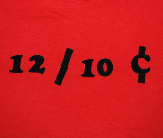 vintage DIME a DOZEN flock iron on t-shirt 70s red funny wtf