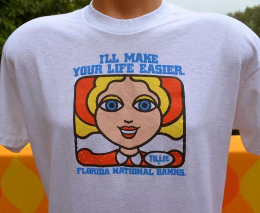 vintage 70s TILLIE all time teller florida bank atm t-shirt