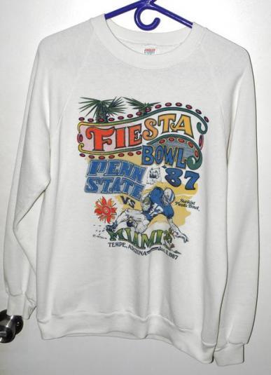 Vtg 1987 Univ Miami Penn State Fiesta Bowl Sweatshirt