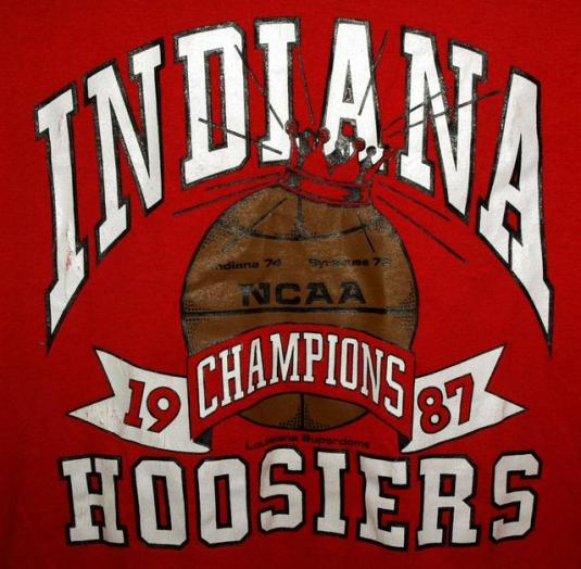 Vtg 80s Indiana Univ Hoosiers NCAA National Champs T-shirt