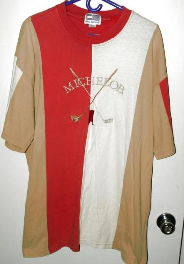 Vtg 90s Michelob Beer Golf Multi Color Embroidered T-shirt