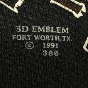 Vtg 1991 Harley Davidson 3D Emblem Fort Worth Texas T-shirt