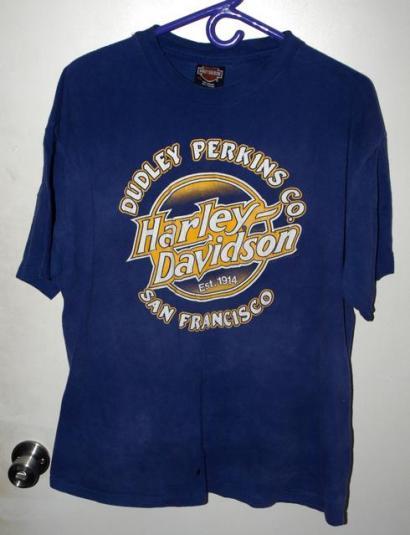 Vtg 90s Dudley Perkins San Fran Cali Harley Davidson T-shirt