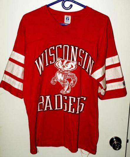Vtg 80s/90s Logo 7 Univ Wisconsin Badgers Jersey Shirt