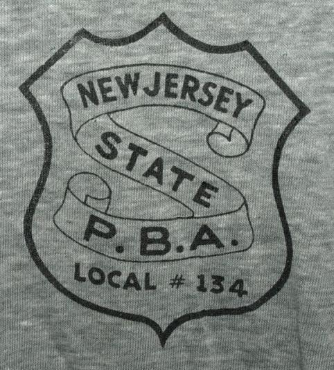 Vtg Soft Thin NJ Bergen County PBA Local #134 Ringer T-shirt