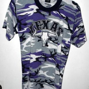 Vtg 90s State of Texas Purple Camouflage Tourist T-shirt