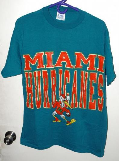 Vtg 90s University Miami Hurricanes Huge Print T-shirt