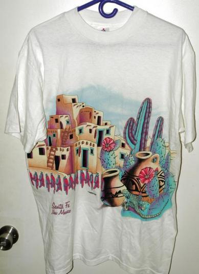 Vtg 90s Santa Fe New Mexico Adobe Cactus Landscape T-shirt