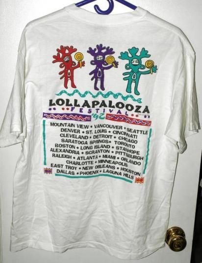 Vintage 1992 Lollapalooza Festival Concert Tour T-shirt