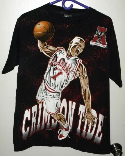 Vtg 90s Alabama Crimson Tide Basketball All Over Print Tee