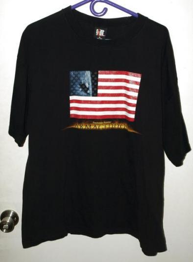 Vtg 90s Armageddon Movie US Flag Promo T-shirt