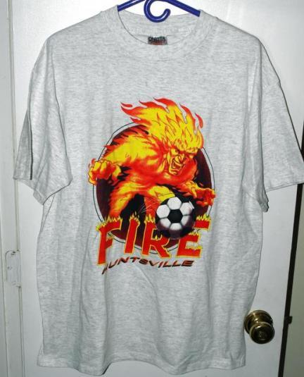 Vtg 90s EISL Huntsville Fire Defunct Franchise Team Logo Tee