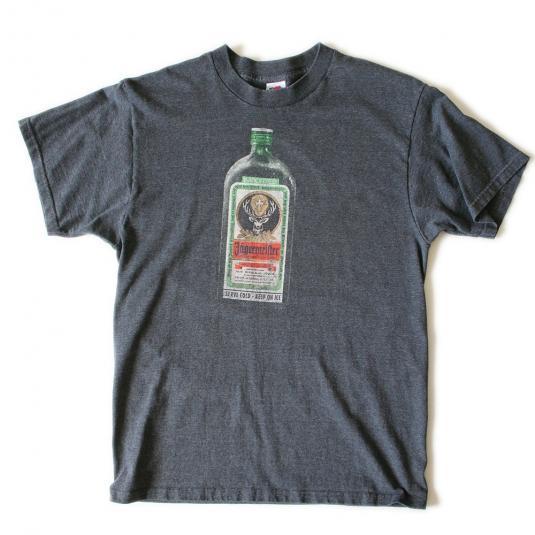 Vintage 90s Dark Gray Jagermeister Bottle Herbs T-Shirt