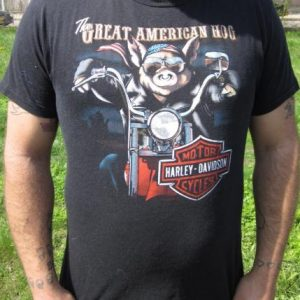 """Vintage '87 Harley Davidson """"Great American Hog"""" T-shirt"""