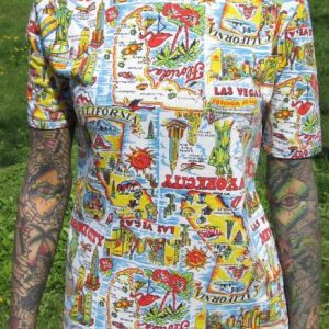 Vintage Travel All-over Print T-shirt California New York FL
