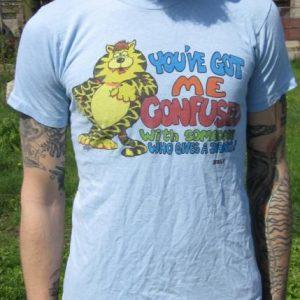 "Vintage Cartoon Grumpy Cat ""You've got me confused"" T-shirt"
