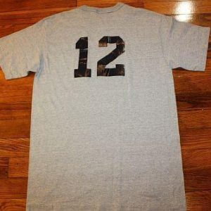 S * vtg 80s blank front #12 heather gray t shirt