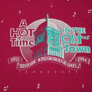 Vintage 1994 HOT TIME IN THE OLD TOWN tennessee T- shirt XL