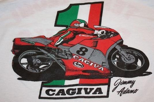 S * thin vintage 80s CAGIVA team leoni JIMMY ADAMO t shirt