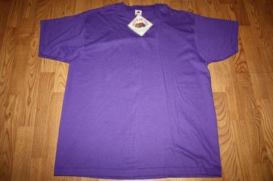 XXL * NOS Vintage 1991 purple BLANK t-shirt w/ orig tag