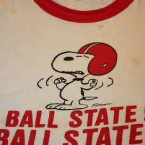 YM * wasted 70s SNOOPY Champion Blue Bar BALL STATE t shirt
