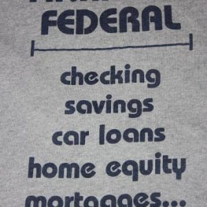 L * vtg 80s heather gray FINANCIAL FEDERAL t shirt