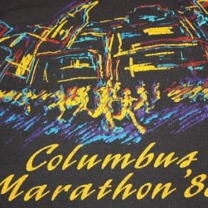 L * vtg 80s 1988 COLUMBUS MARATHON screen stars L/S t shirt