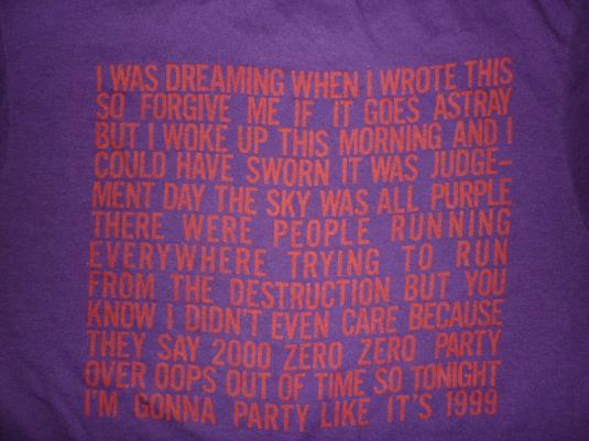 RARE VTG 80s 1984 PRINCE 1999 T-SHIRT PROMO TOUR CONCERT