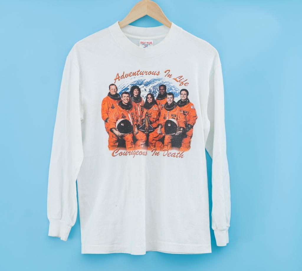 vintage challenger crew memorial t-shirt courageous in death