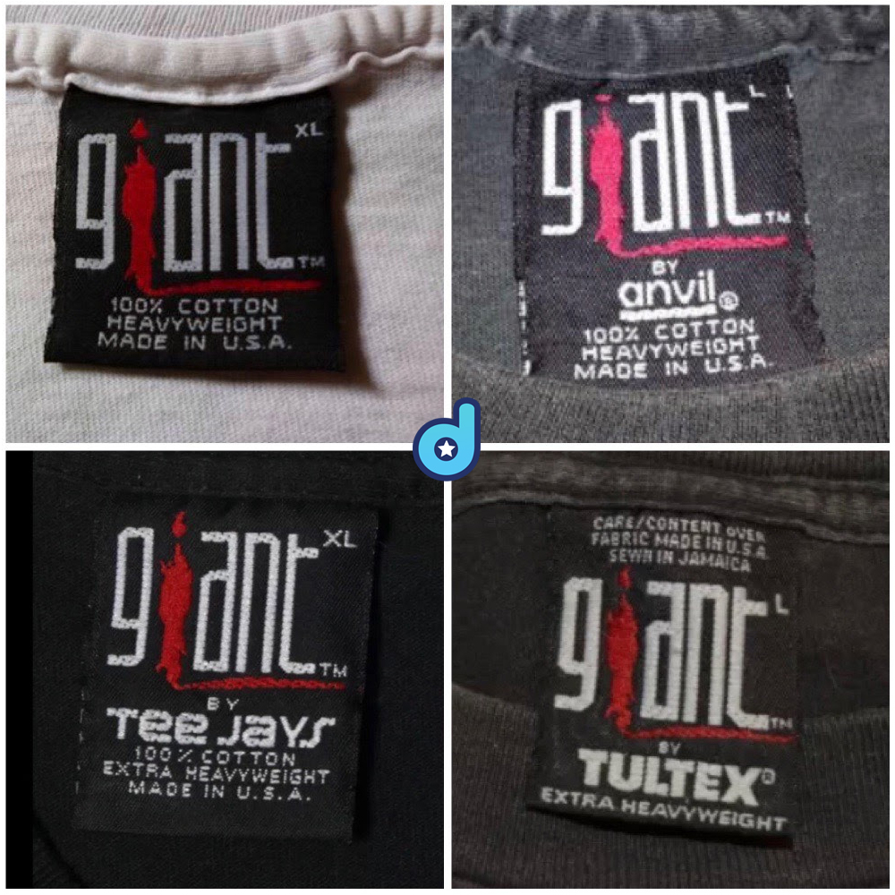 Giant T-Shirt by Anvil, Tee Jays, Tultex Tags 1991-1995