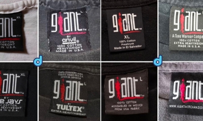 The history and timeline of Giant T-Shirt Tags