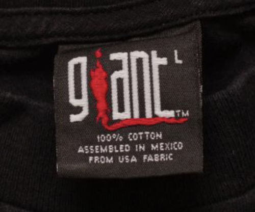 Giant 100% cotton Assembled in Mexico Tag