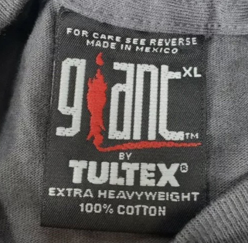 giant extra heavyweight 100% cotton made in mexico tultex tag