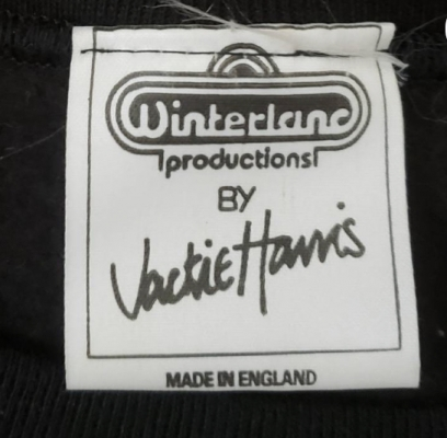 Winterland Productions Jackie Harris Made in England Tag