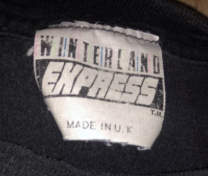 Winterland Express Made in England Tag