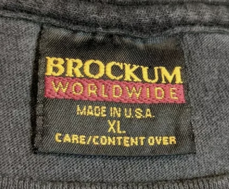 Brockum Worldwide Made in USA tag