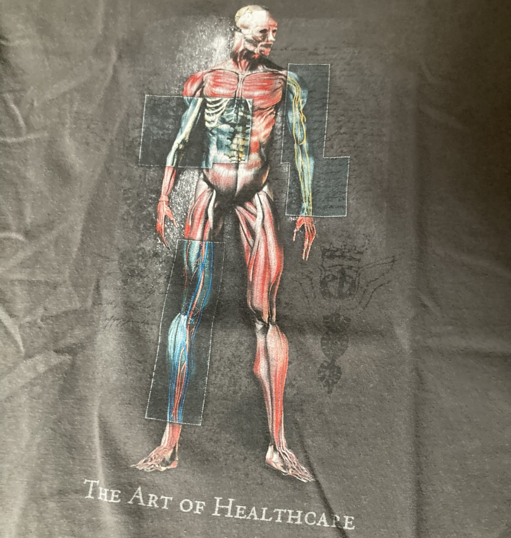 vintage the art of healthcare t-shirt close up