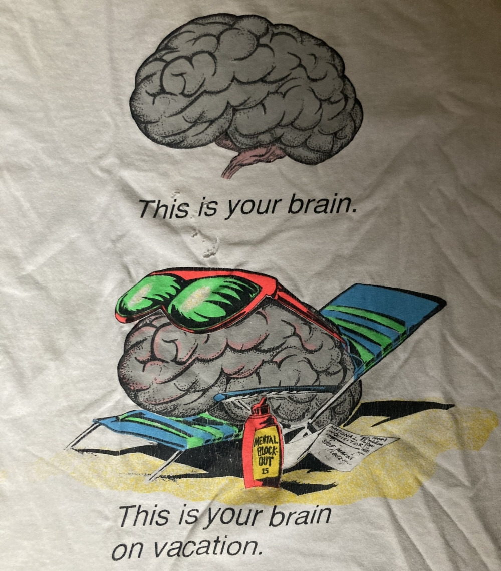vintage fashion victim this is your brain on vacation t-shirt close up