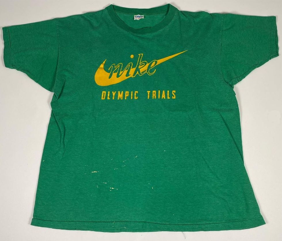 Green 1972 Nike Olympic Trials T-Shirt Front Swoosh