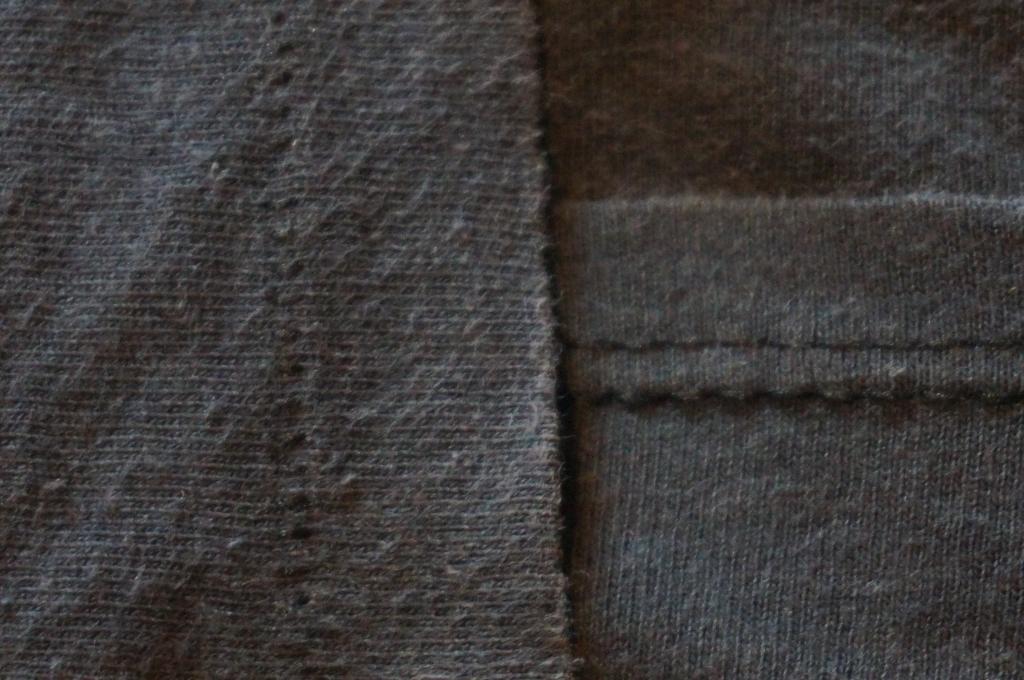 example of t-shirt with single stitch arm hem and double stitch bottom hem