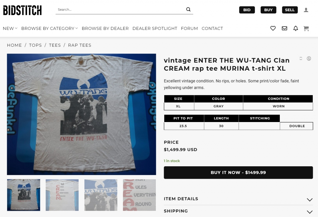 Bidstitch Listing for VINTAGE Enter the Wu Tang C.R.E.A.M. T-Shirt