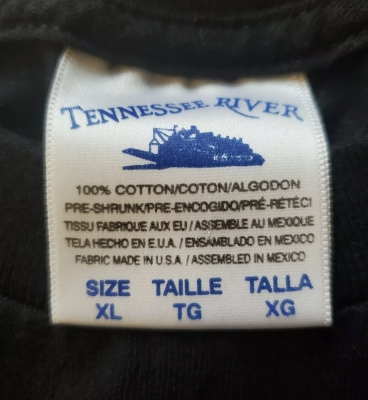 Tennessee River 100% Cotton 1990s White Tag Blue Print