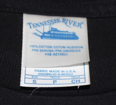 Tennessee River 100% U.S.A. Fabric Made in Mexico Double Tag